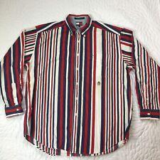 Vintage 90s Tommy Hilfiger Mens Large Striped Color Block Button Up Long Shirt
