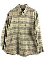 Woolrich Outdoorsman Button Down Shirt Mens Large Brown Plaid Long Sleeve Cotton