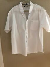 Tommy Hilfiger White Mens Shirt Size 18 Button Down Short-Sleeve