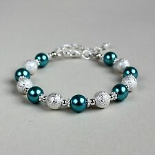 Silver stardust teal blue pearls beaded bracelet party wedding bridesmaid gift