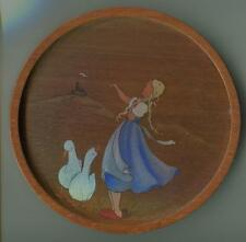 VINTAGE HAND PAINTED BLONDE GERMAN GIRL BRAIDS CASTLE MOTHER GOOSE OLD PAINTING