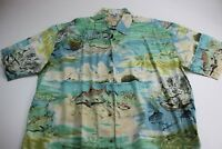Don Ray Kahala RARE Artwork Fish Print Camp Shirt Large L