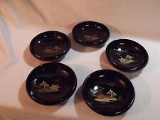 """Set Of (5) Antique Japanese Hand Painted Black Laquered 6"""" Wood Bowls ~ Minty !"""