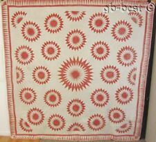 """FANTASTIC Pattern! COSMO Compass c 1840s Stars ANTIQUE Red 92"""" x 92"""""""