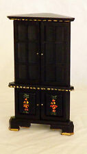 1/12th Scale Hand Painted Dolls House Antique Corner Display Cabinet Unit