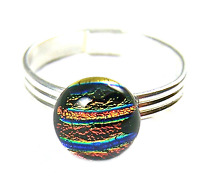 """Glass Ring Adjustable Dichroic Metallic Copper Gold Striped Reed Tiny 1/4"""" 8mm"""