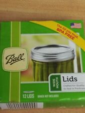 NEW BALL MASON WIDE MOUTH CANNING LIDS (12 Count Box)