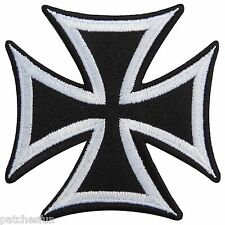 Iron Cross White German WW2 Military Biker Motorcycle Tattoo Iron on Patch #0589