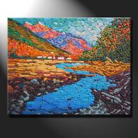 Original mosaic artwork porcelain mountains river valley cottages art GeeBeeArt