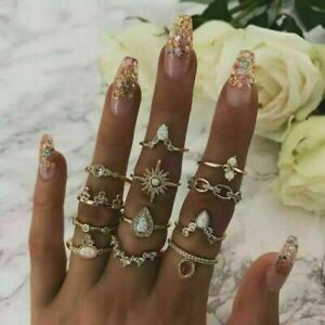 Boho Bohemian 10Pcs/Set Geometric Knuckles Rings Sets Crystal Stone Gold Women