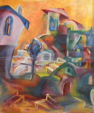 Vintage Abstract cityscape oil painting