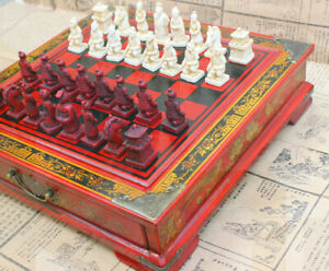 Large Antique Chinese Terra-Cotta Warriors Chess Set Chess Board Chess Gifts