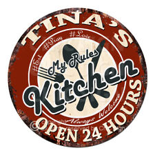 CWMK-0092 TINA'S KITCHEN Rules Tin Sign Mother's Day Christmas Gift For Woman
