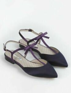 Boden Isabelle Isobel Navy Satin Bow Pointed Strap Shoe Flats 36/3.5 NEW RRP£100