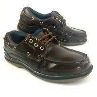Marks & Spencer Mens Boat Shoes UK 9 Brown Leather Lace Up Deck Summer Footwear