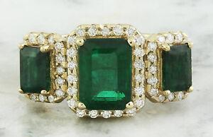 4.36 Carat Natural Emerald 14K Solid Yellow Gold Diamond Ring