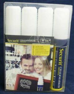 Securit Liquid Chalk Markers White 7-15mm Tip - Pack of 4 - Blackboard Pens
