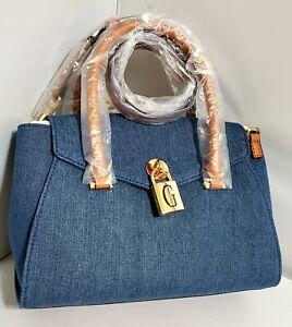 NWT GUESS GODFREY satchel Convertible crossbody handbag - Denim Blue
