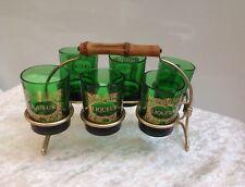 Vintage Retro Set Of Six Green Liqueur Shot Glasses In Gold Metal Caddy Port Bar