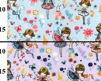 100% Cotton Childrens Fabric - Cute Fairy Garden on Blue - Craft Fabric Material