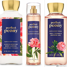 Bath And Body Works Perfect Peony Set Full Size Lotion Fragrance Mist Shower Gel