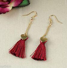 E14 Vintage Style Deep Red Tassel Statement Dangle Stud Earrings