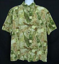 Kahala Hawaiian Men's L Cotton Blend Short Sleeve Button Front Multi-Color Wine