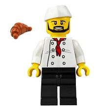 LEGO CITY CHEF Black Beard Red Tie Butcher Hat Croissant Cook BAKER MINIFIGURE