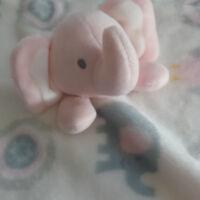 Blankets & Beyond Pink Elephant Owl Security Blanket - Lovey Lovie Plush Soft