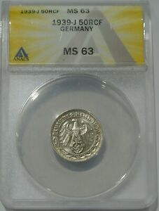 1939-J Germany 50 Reichspfennig ANACS Certified MS63 ~nice tone free coin~
