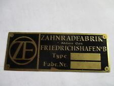 Typenschild ZF Messing Schild Vorkrieg Getriebe Oldtimer Horch Benz Wanderer s29