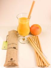 BUNKOZA® Eco Bamboo Straws -Organic 6 Bamboo Drinking Straw 23cm Smooth +Cleaner