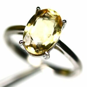 NATURAL 7 X 11 mm. GOLDEN YELLOW CITRINE RING 925 STERLING SILVER SIZE 7