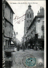 Tours (37) shops, rue des Halles very lively in 1904