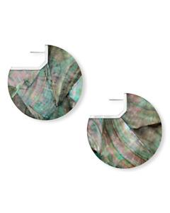 KENDRA SCOTT Kai Rhodium Plated Black Mother of Pearl Disk  Earrings
