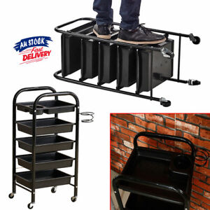 5 Tier Coloring Hair Black Salon Trolley Spa Rolling Hairdresser ACB#