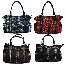 Banned Punk Tartan Rise Up Handbag Handcuffs Alternative Shoulder Bag