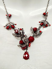 Fashion Chic Black Silver Red Arylic Bead Red Rhinestone Chain Chunky Necklace