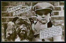 Child boy with English Bulldog Dog original old 1910s photo postcard