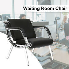 PU Leather Waiting Chair Room Reception Office Airport Bank Bench Modern Black