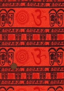 100% Cotton Fabric Indian Print Masks Characters Orange Red Black Craft