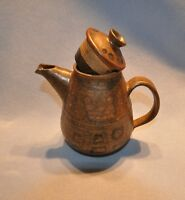 "Crockery Pottery Drink Pitcher Mixed Brown Colors 8"" Tall x 8"" Wide w/ Handle"