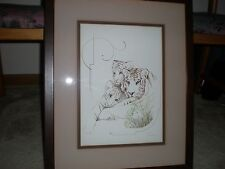 AUTHENTIC ORIGINAL VINTAGE WILLIAM TARA SIGNED PRINT ORIG. TIGERS