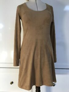 VERY VERY camel / tan faux suede stretch dress (12 14 ?) casual to cocktail boho