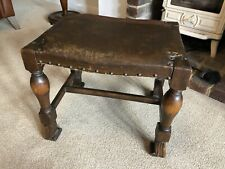 Antique Stool Footstool Oak Leather Studded HEAVY AND VERY SOLID Circa 1870s
