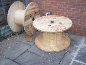 LARGE WOODEN CABLE DRUM REEL RETRO GARDEN COFFEE TABLE INDUSTRIAL WORCESTER WOOD