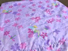 Vintage Disney TINKERBELL Twin Flat Sheet Made In USA Peter Pan Floral