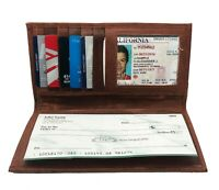 Brown Genuine Leather Men's Checkbook Cover Long Wallet Organizer