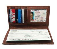 Tan Genuine Leather Men's Checkbook Cover Long Wallet Organizer