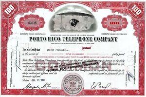 Porto (Puerto) Rico Telephone Company, 1960  (100 Shares)